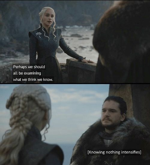 Game of Thrones scene with Daenerys Targaryen blessing Jon Snow with knowledge